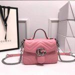 Gucci 547260 GG Marmont Mini Top Handle Bag Pink - luxibagsmall