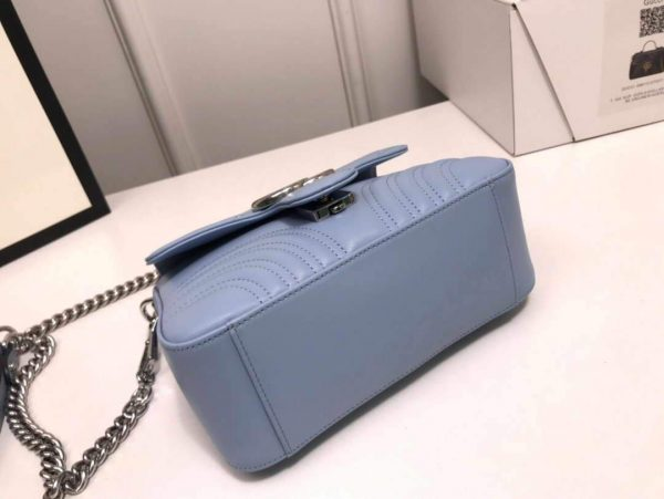 Gucci 547260 GG Marmont Mini Top Handle Bag Blue - luxibagsmall