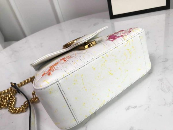 Gucci 547260 GG Marmont Mini Top Handle Bag White and printer - luxibagsmall