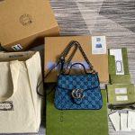 gucci 583571 gg marmont multicolour mini top handle bag blue 0