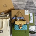 gucci 583571 gg marmont multicolour mini top handle bag blue and beige 0