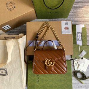 gucci 583571 gg marmont multicolour mini top handle bag brown 0
