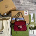 gucci 583571 gg marmont multicolour mini top handle bag red 0