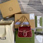 gucci 583571 gg marmont multicolour mini top handle bag wine red 0