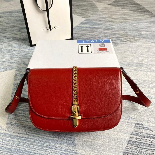 Gucci 601067 Sylvie 1969 Small Shoulder Bag Red - luxibagsmall