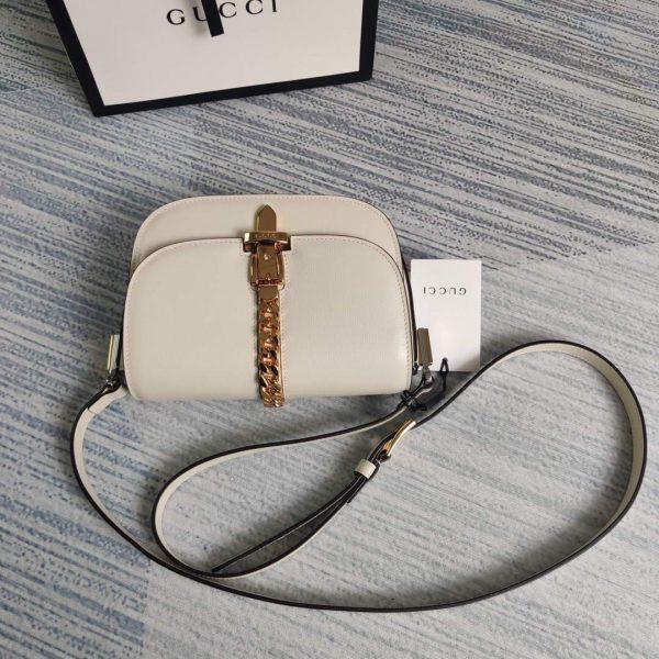 Gucci 615965 Sylvie 1969 Flap Mini Shoulder Bag White - luxibagsmall