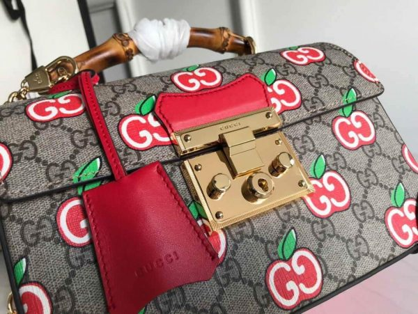 Gucci 6203221 Padlock GG small Bamboo Shoulder Bag Red - luxibagsmall