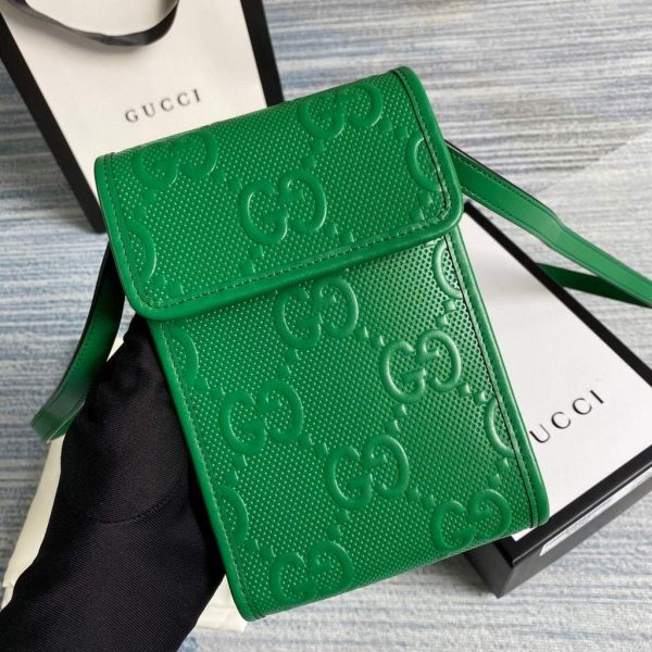 Gucci 625571 Messengers GG Embossed Mini Bag Green - luxibagsmall