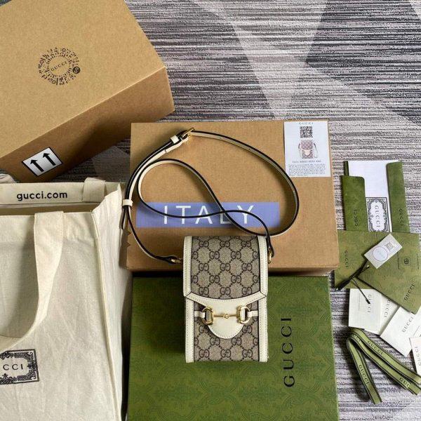 Gucci 625615 Gucci Horsebit 1955 Mini Bag White - luxibagsmall