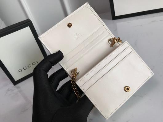 Gucci 625693 GG Marmont Card Case Wallet White - luxibagsmall