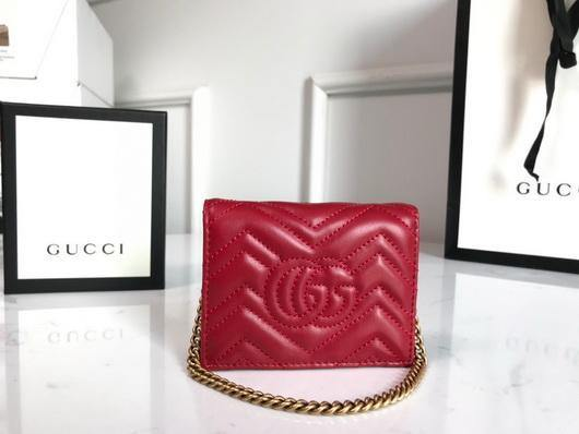Gucci 625693 GG Marmont Card Case Wallet Red - luxibagsmall