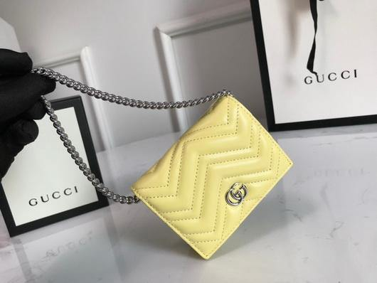 Gucci 625693 GG Marmont Card Case Wallet Yellow - luxibagsmall