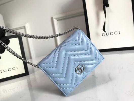 Gucci 625693 GG Marmont Card Case Wallet Blue - luxibagsmall