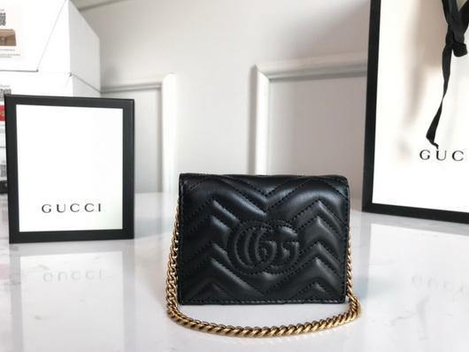 Gucci 625693 GG Marmont Card Case Wallet Black - luxibagsmall