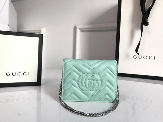 Gucci 625693 GG Marmont Card Case Wallet Green - luxibagsmall