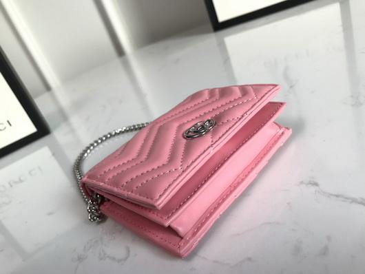 Gucci 625693 GG Marmont Card Case Wallet Pink - luxibagsmall