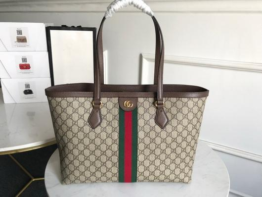Gucci 631685 Ophidia GG Medium Tote Green and red Web - luxibagsmall