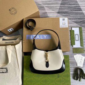 gucci 636706 jackie vintage underarm bag white and black 1