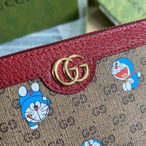 Gucci 647787 Doraemon x Gucci Zip Around Wallet Red - luxibagsmall