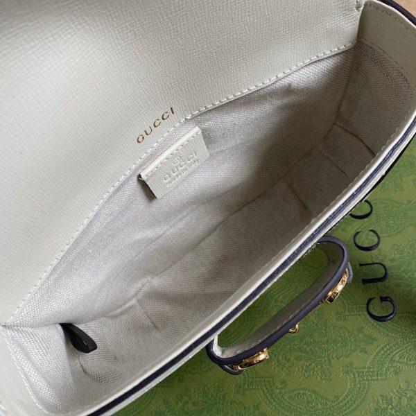Gucci 658574 Gucci Horsebit 1955 Mini Bag White Gray - luxibagsmall