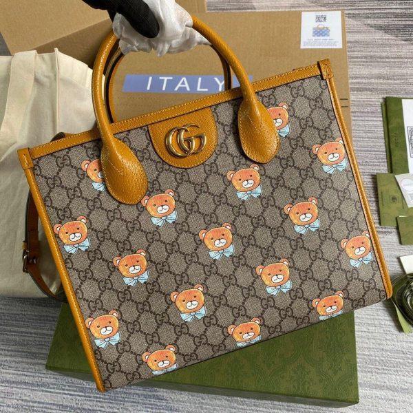 Gucci 660531 GG KAI Cooperation Teddy Bear Tote Bag Tan - luxibagsmall