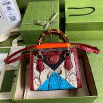 gucci diana mini tote bag top handle bag gucci 655661 grey with red 1