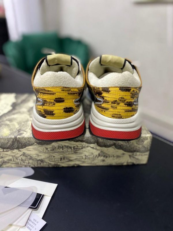 Gucci Men's Ultrapace R Leather Sneaker 81112 Yellow and Black - luxibagsmall