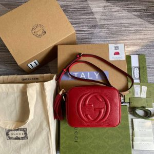 gucci soho small leather disco bag 308364 red 0
