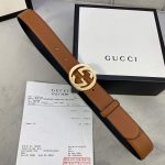 Gucci Women Men's Leather Belt with Double G Buckle 30MM 19013 - luxibagsmall