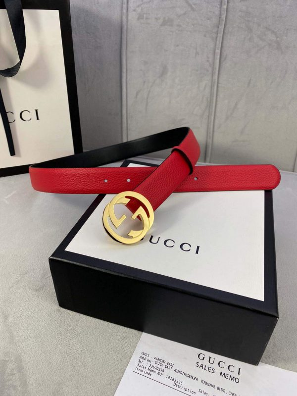 Gucci Women Men's Leather Belt with Double G Buckle 30MM 19014 Red - luxibagsmall