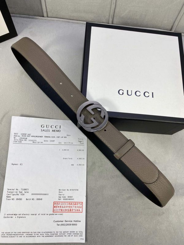 Gucci Women Men's Leather Belt with Double G Buckle 30MM 19015 Gray - luxibagsmall