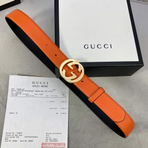 Gucci Women Men's Leather Belt with Double G Buckle 30MM 19016 Orange - luxibagsmall