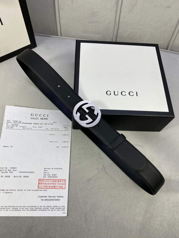 Gucci Women Men's Leather Belt with Double G Buckle 30MM 19017 Black - luxibagsmall