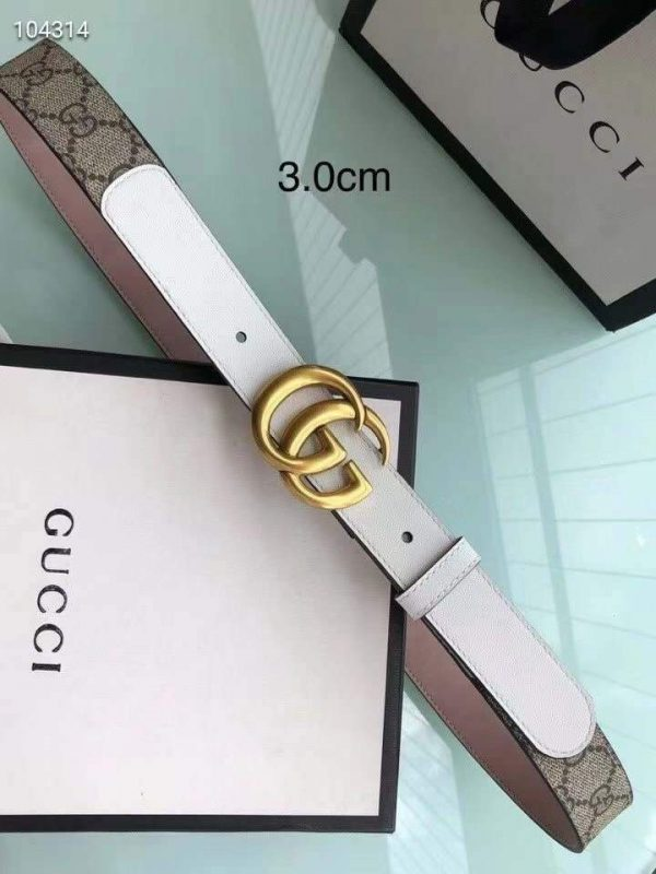 Gucci Women Men's Leather Belt with Double G Buckle 30MM 19018 GG Monogram - luxibagsmall