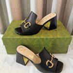 gucci womens 655412 slide sandal with horsebit black leather 0
