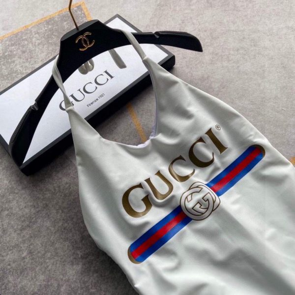 Gucci Women's Sparkling swimsuit with Gucci logo 501899 Beige - luxibagsmall
