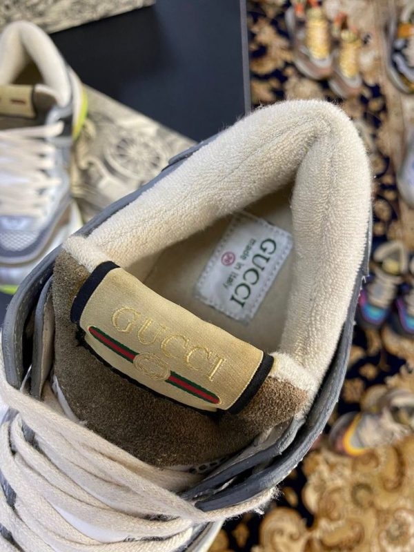 Gucci Women's Ultrapace R Leather Sneaker 81115 Silver and Brown - luxibagsmall