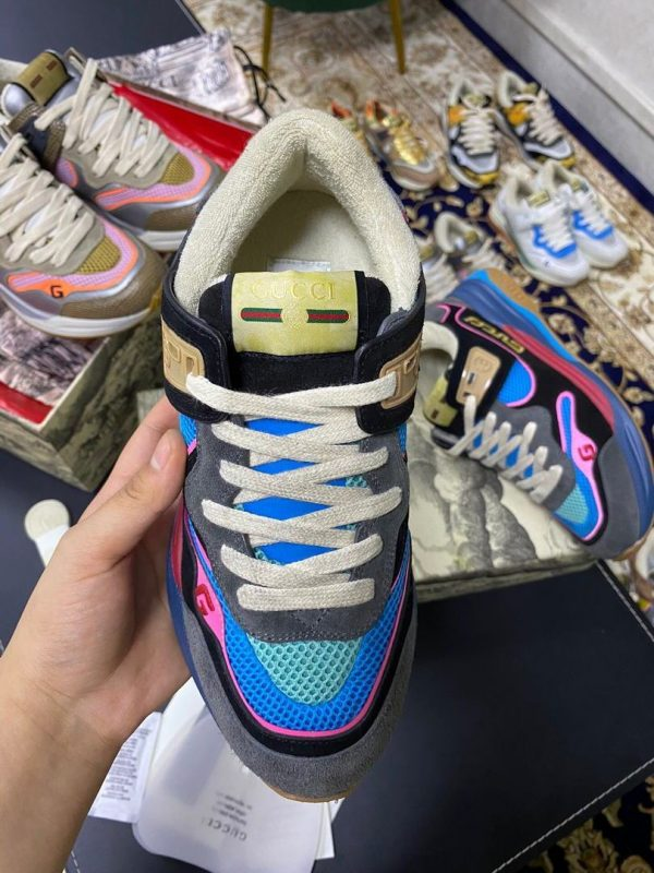 Gucci Women's Ultrapace R Leather Sneaker 81115 Blue and Black - luxibagsmall
