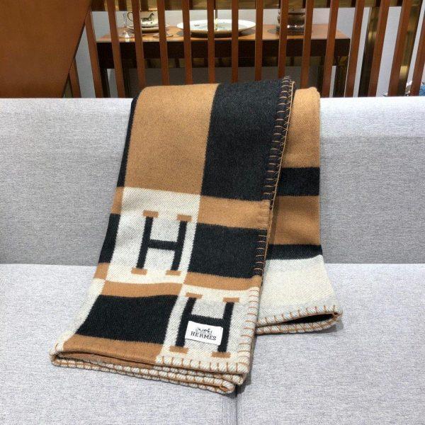 Hermes Avalon Rocabar Cashmere Blanket 29904 Brown and black - Voguebags