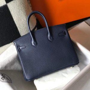 Hermes Birkin Designer Tote Bag Togo Leather 28341 Dark Blue - luxibagsmall
