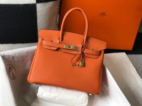 Hermes Birkin Designer Tote Bag Togo Leather 28342 Orange - luxibagsmall