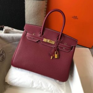 Hermes Birkin Designer Tote Bag Togo Leather 28343 Wine Red - luxibagsmall