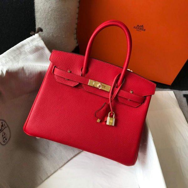 Hermes Birkin Designer Tote Bag Togo Leather 28344 Red - luxibagsmall