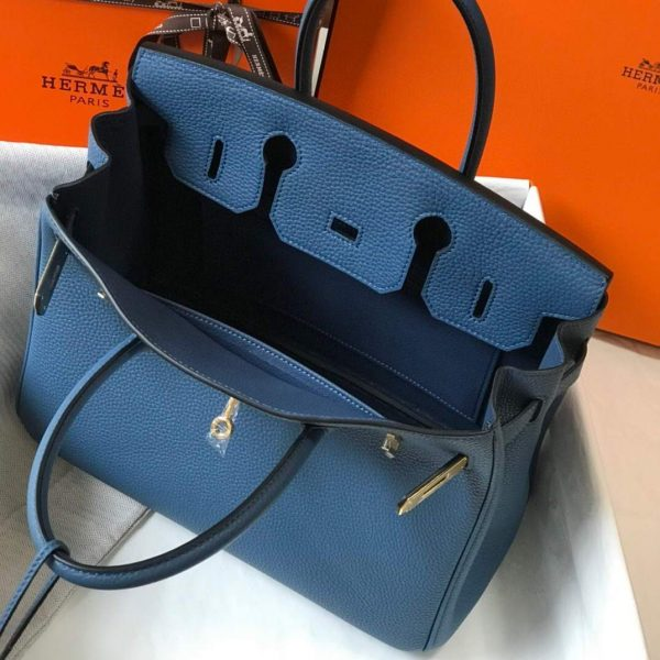 Hermes Birkin Designer Tote Bag Togo Leather 28345 Navy Blue - luxibagsmall