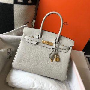 Hermes Birkin Designer Tote Bag Togo Leather 28348 White - luxibagsmall