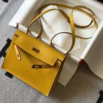 Hermes Kelly Danse 22cm Leather Bag 20357 Yellow - luxibagsmall