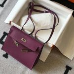 Hermes Kelly Danse 22cm Leather Bag 20358 Purple - luxibagsmall