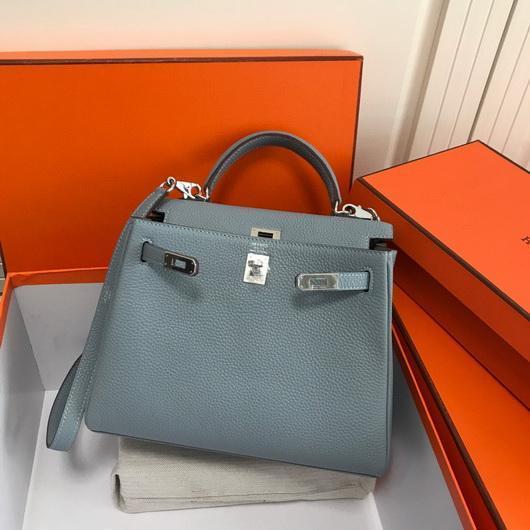 Hermes Kelly Danse 20309 Designer Tote Shoulder Strap Bag Lake Blue - luxibagsmall