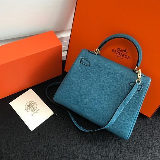 Hermes Kelly Danse 20310 Designer Tote Shoulder Strap Bag Blue - luxibagsmall