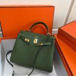 Hermes Kelly Danse 20311 Designer Tote Shoulder Strap Bag Green - luxibagsmall